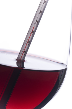 Measuring Red Wine Temperature with a Thermometer (Fahrenheit)